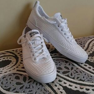 Converse All Star basket weave white sneakers